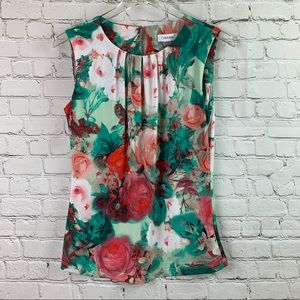 Calvin Klein Green Red Floral Dressy Tank Small